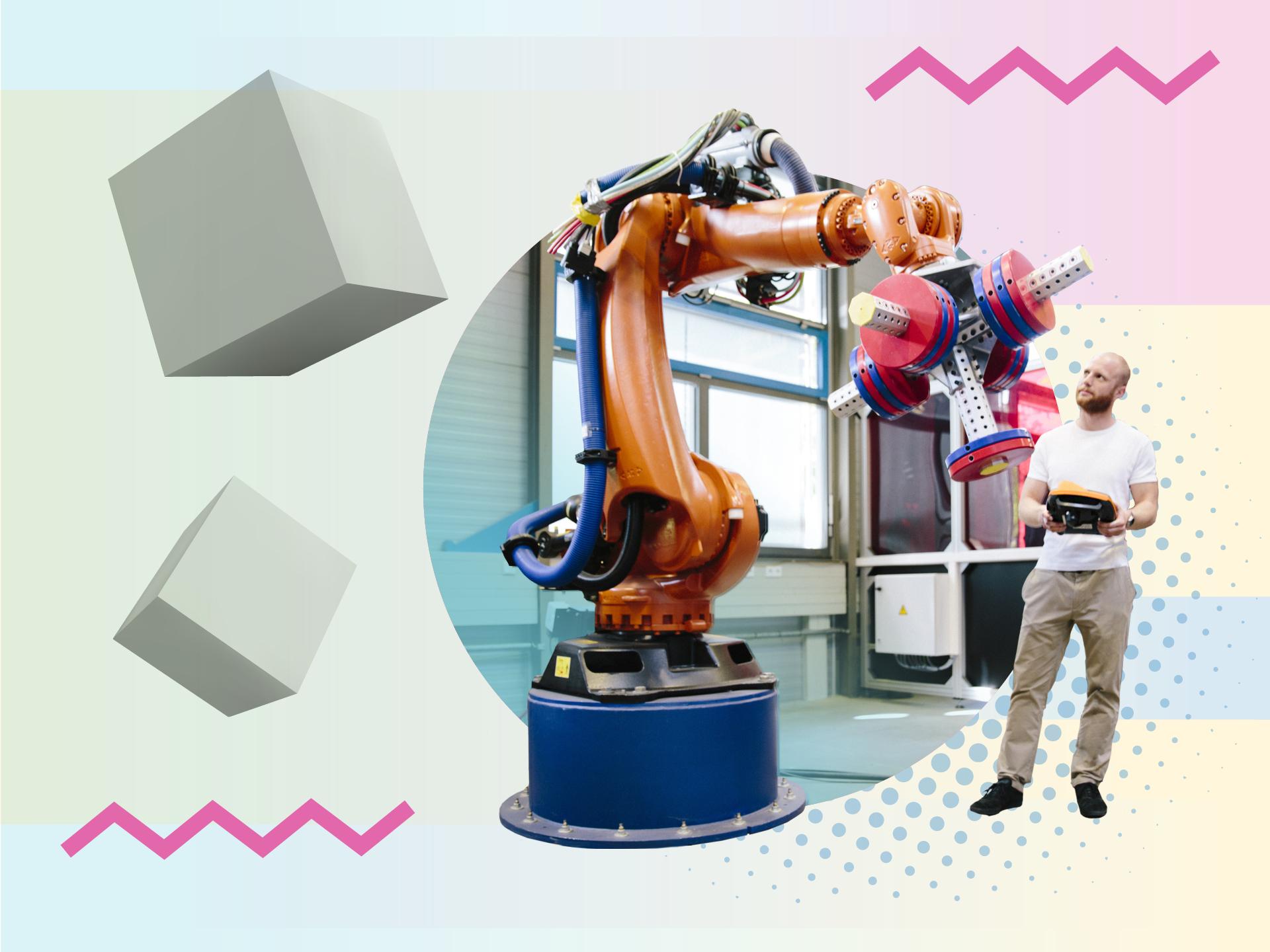 Ein Mann, der einen Roboterarm steuert.