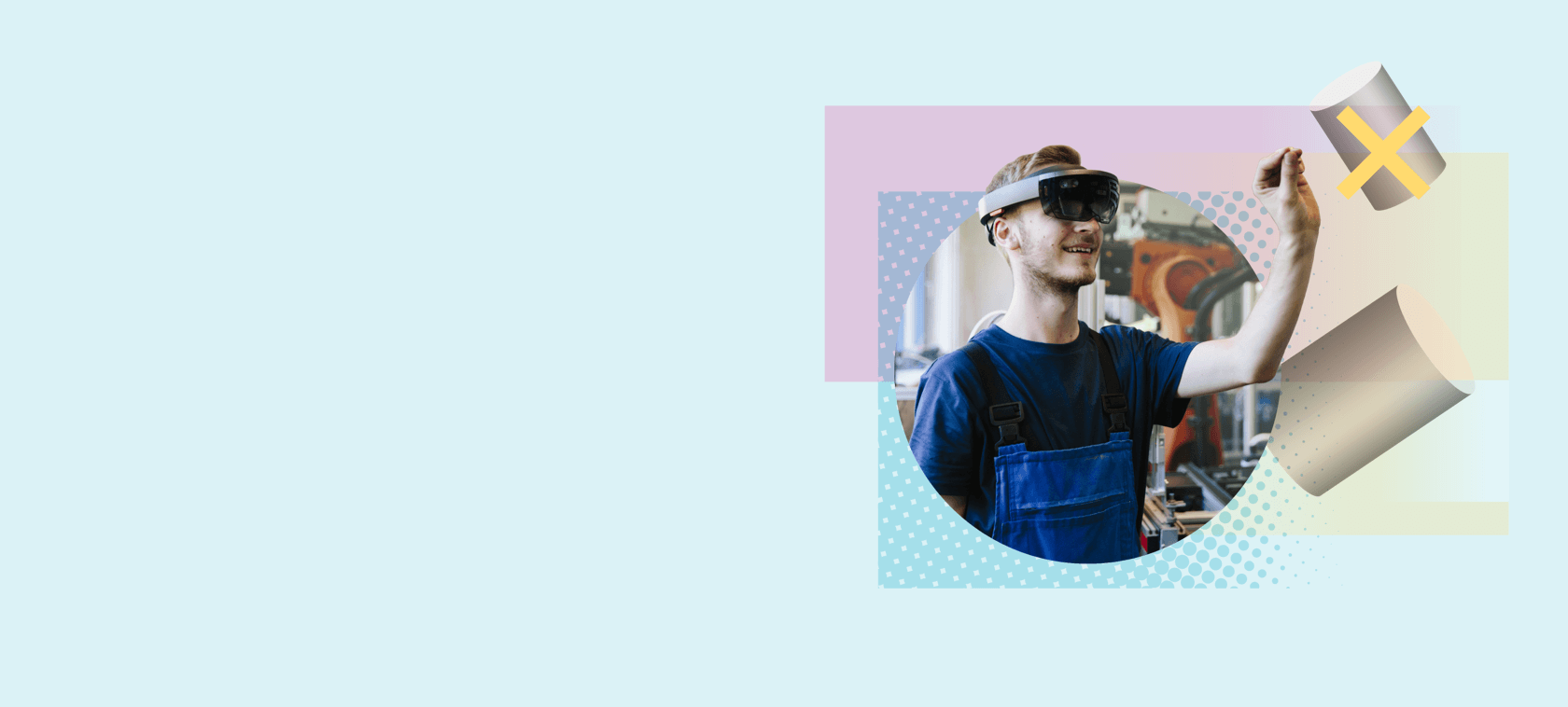 A young man with virtuel reality glasses.