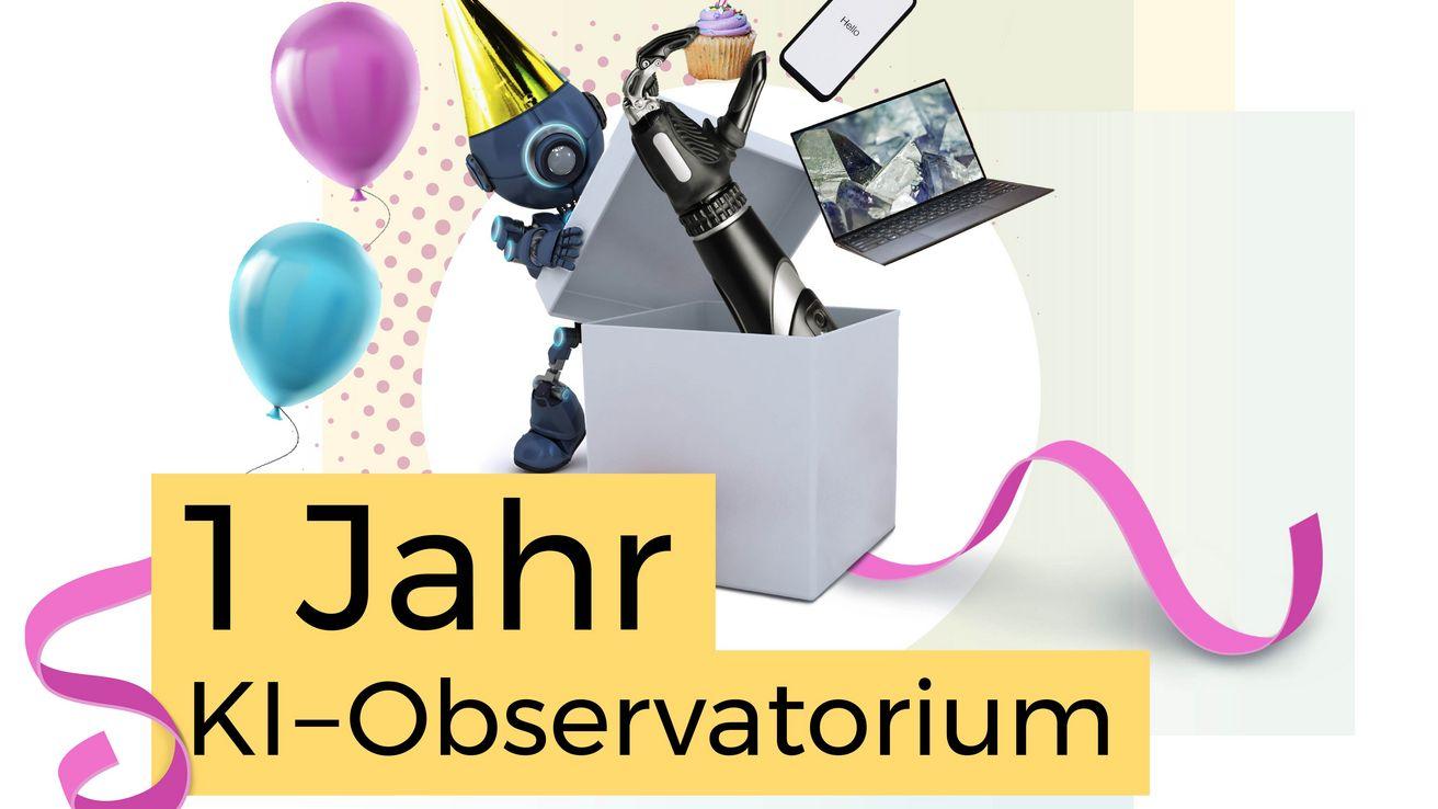 """Text """"1 Jahr KI-Observatorium""""vor einer weißen Kiste. Die Kiste wird von einem Roboter geöffnet. Aus der Kiste schaut eine Roboterhand, ein Laptop und Handy schweben darüber."""